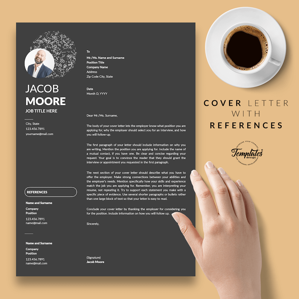 Creative Resume for Finance - Jacob Moore (Black Edition) 07 - Cover Letter with References - New version