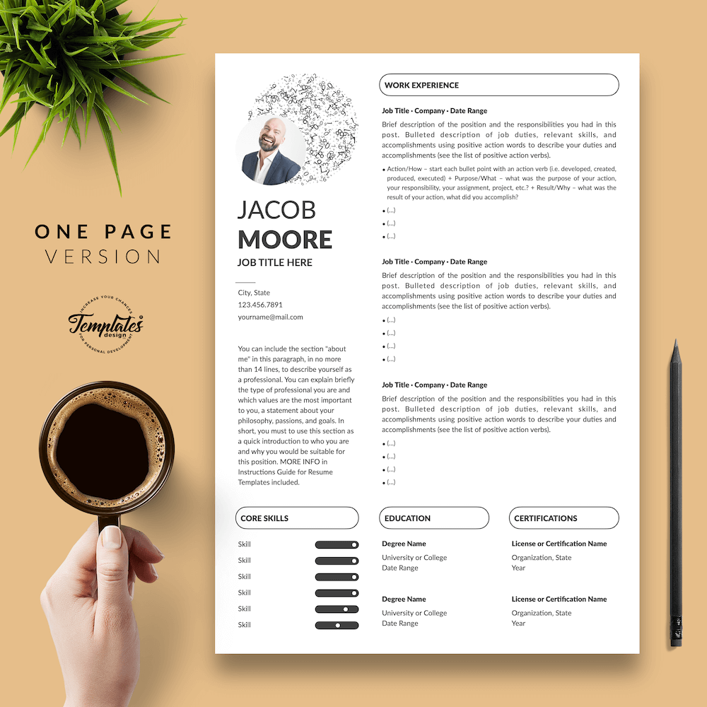 Creative Resume for Finance - Jacob Moore (White Edition) 02 - One Page Version - New version