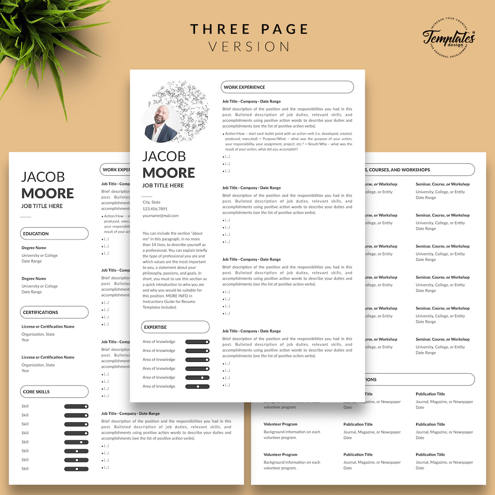 Creative Resume for Finance - Jacob Moore (White Edition) 04 - Three Page Version - New version