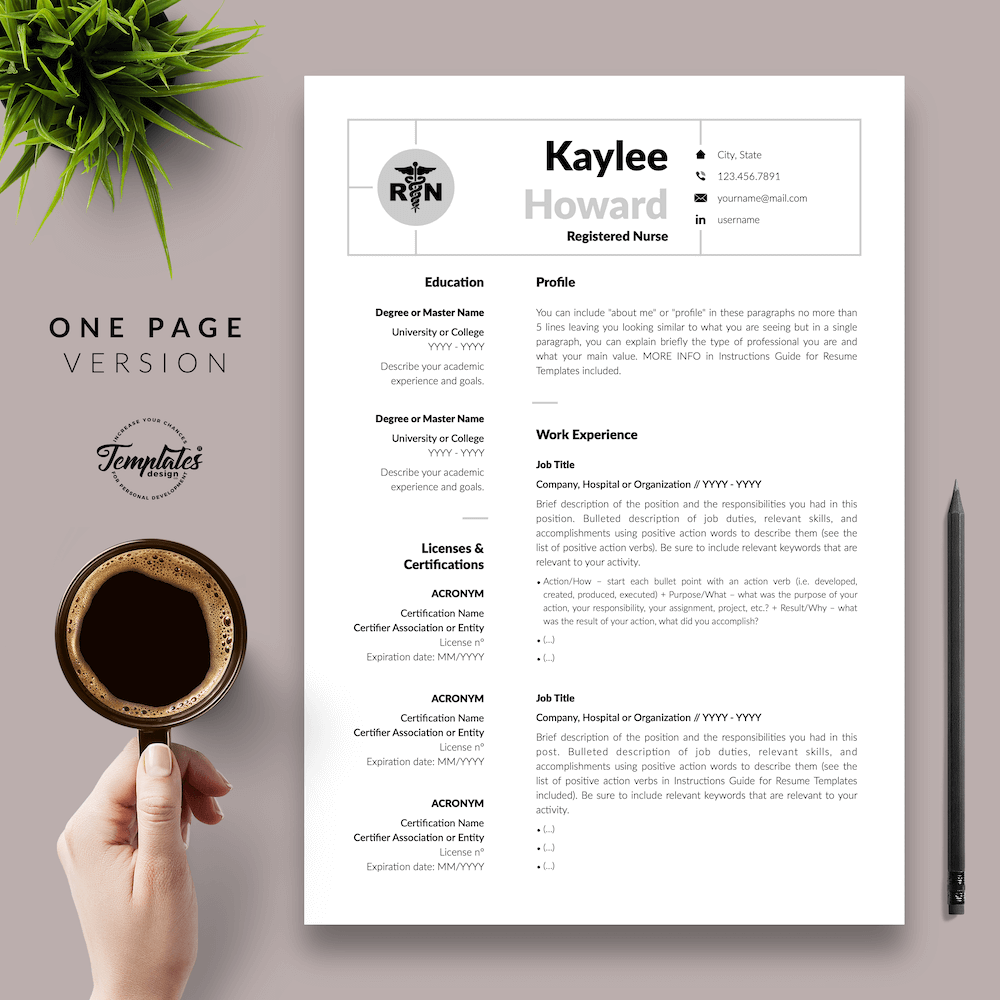Nursing Resume Template - Kaylee Howard 02 - One Page Version - New version