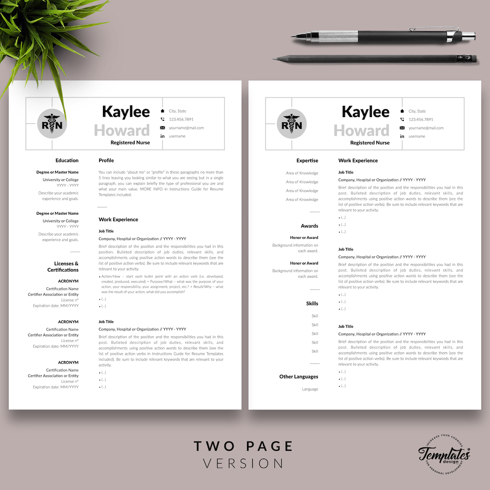 Nursing Resume Template - Kaylee Howard 03 - Two Page Version - New version
