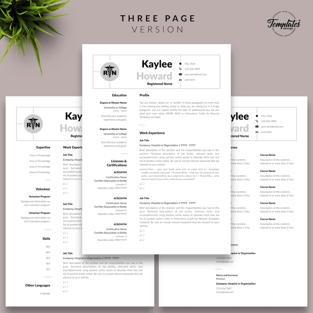 Nursing Resume Template - Kaylee Howard 04 - Three Page Version - New version