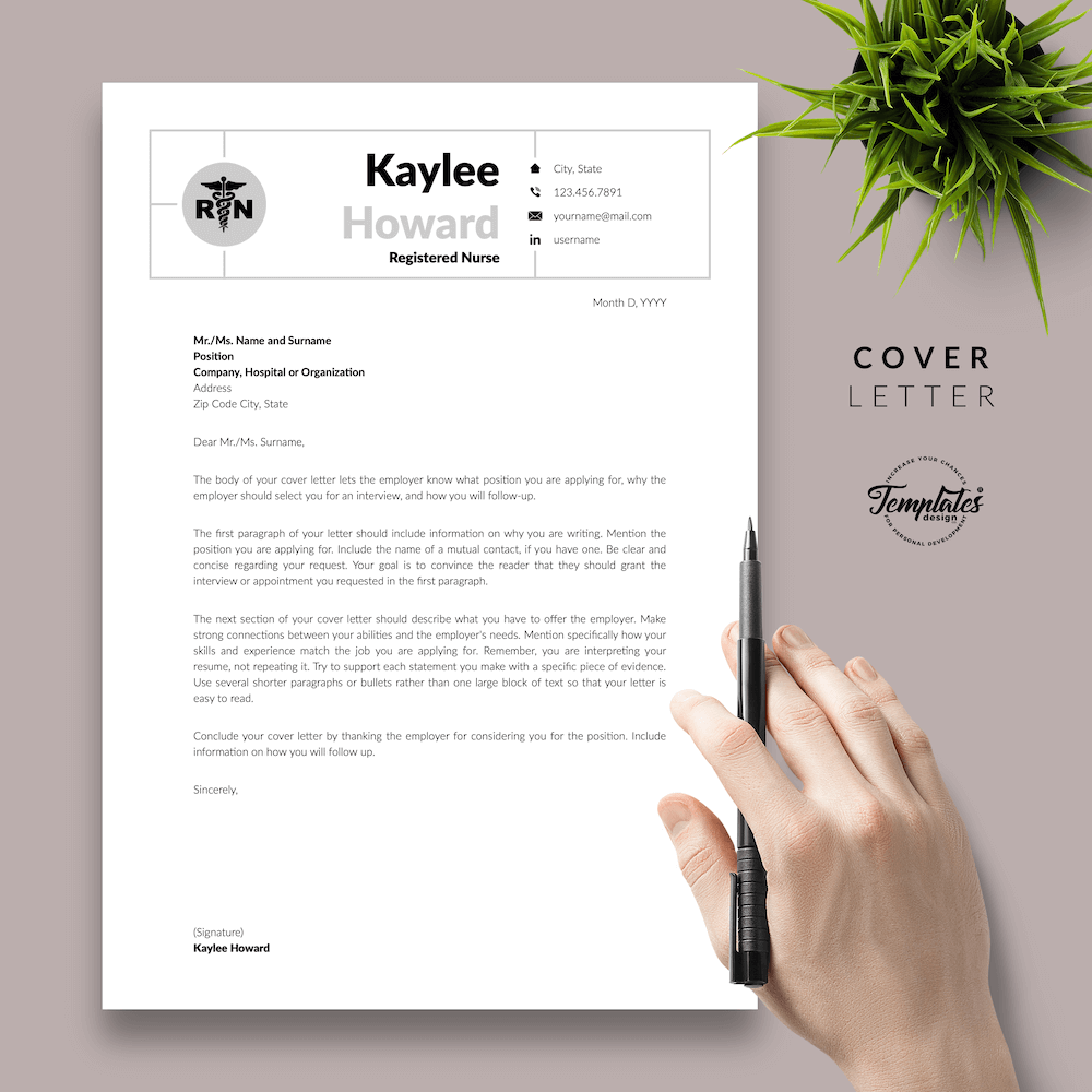 Nursing Resume Template - Kaylee Howard 05 - Cover Letter - New version