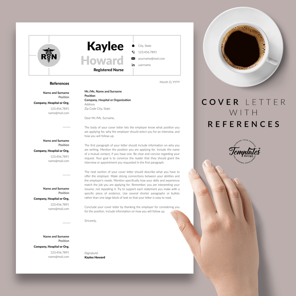 Nursing Resume Template - Kaylee Howard 07 - Cover Letter with References - New version