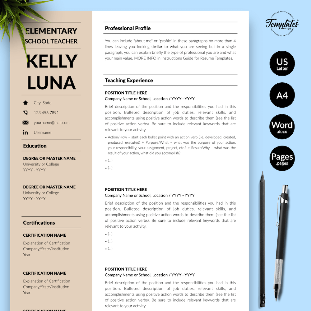 Modern Teacher Resume - Kelly Luna 01 - Presentation - New version