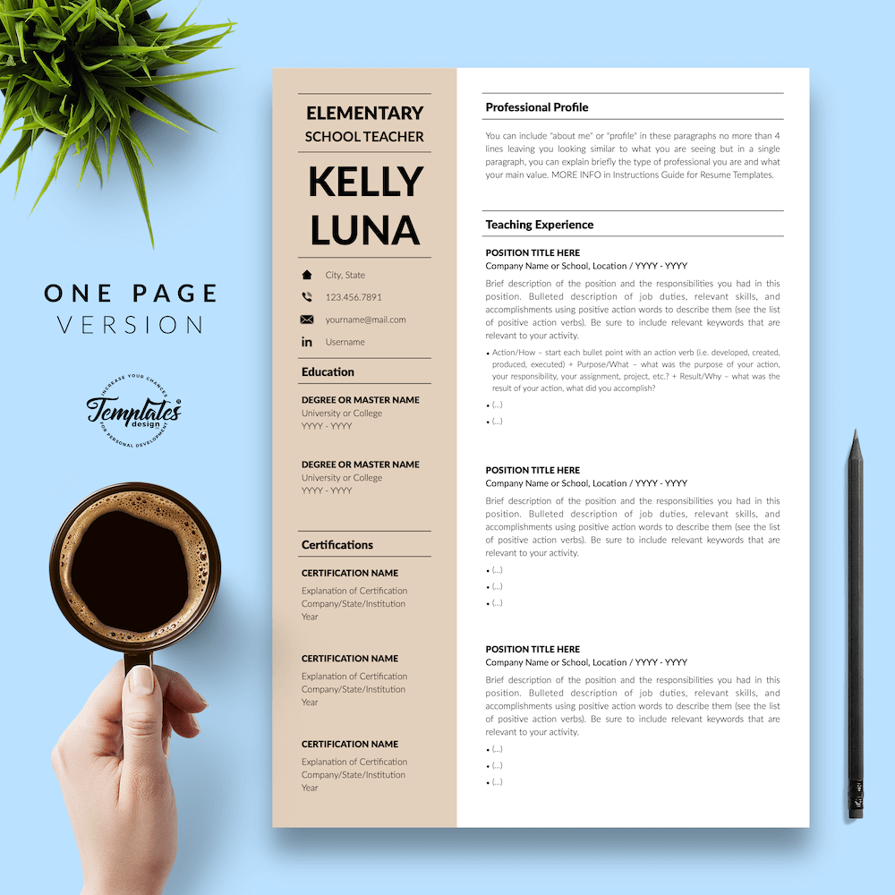 Modern Teacher Resume - Kelly Luna 02 - One Page Version - New version