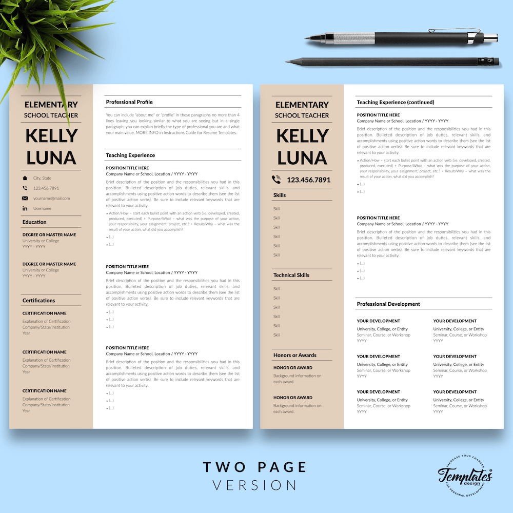 Modern Teacher Resume - Kelly Luna 03 - Two Page Version - New version
