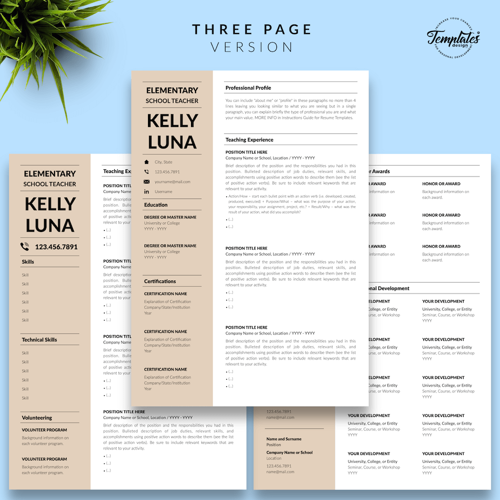Modern Teacher Resume - Kelly Luna 04 - Three Page Version - New version