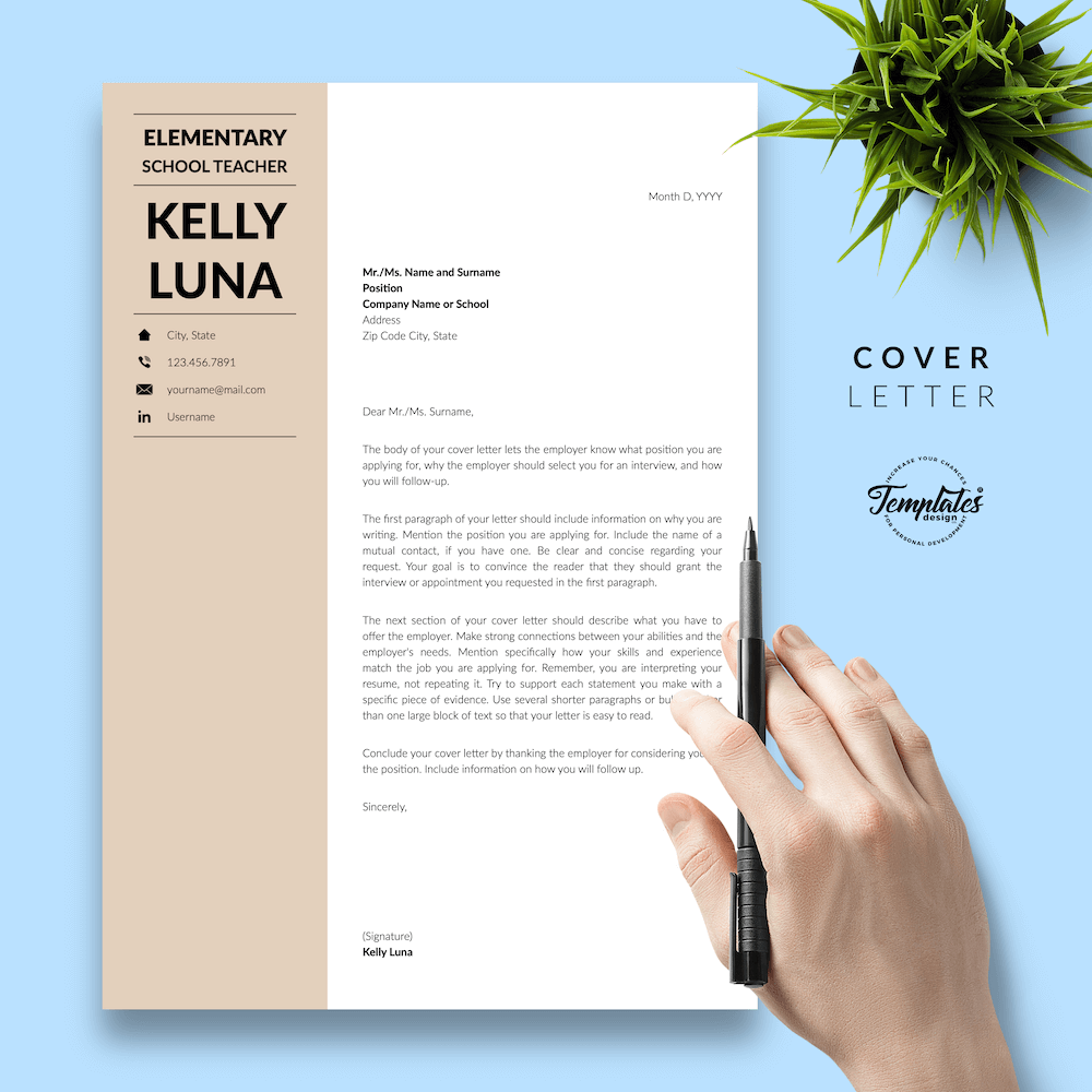 Modern Teacher Resume - Kelly Luna 05 - Cover Letter - New version
