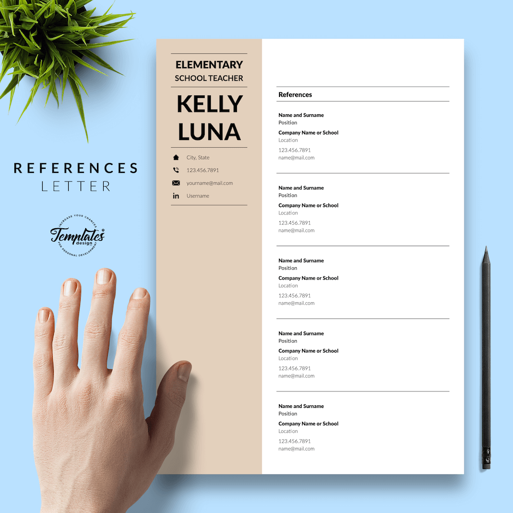 Modern Teacher Resume - Kelly Luna 06 - References - New version