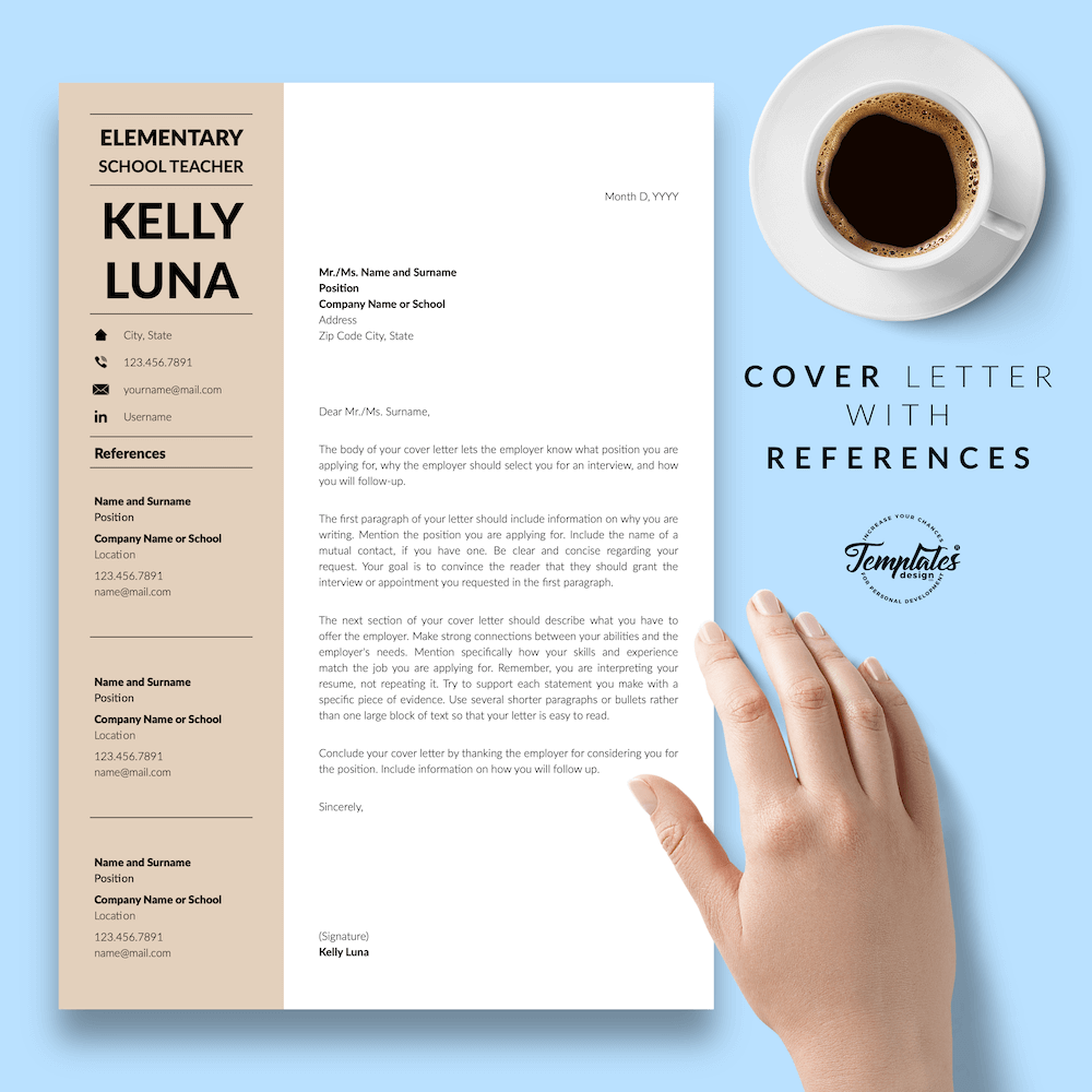 Modern Teacher Resume - Kelly Luna 07 - Cover Letter with References - New version