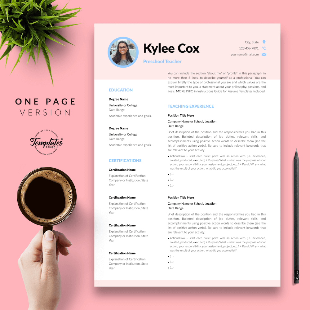 Beautiful Resume for Teacher - Kylie Cox 02 - One Page Version - New version