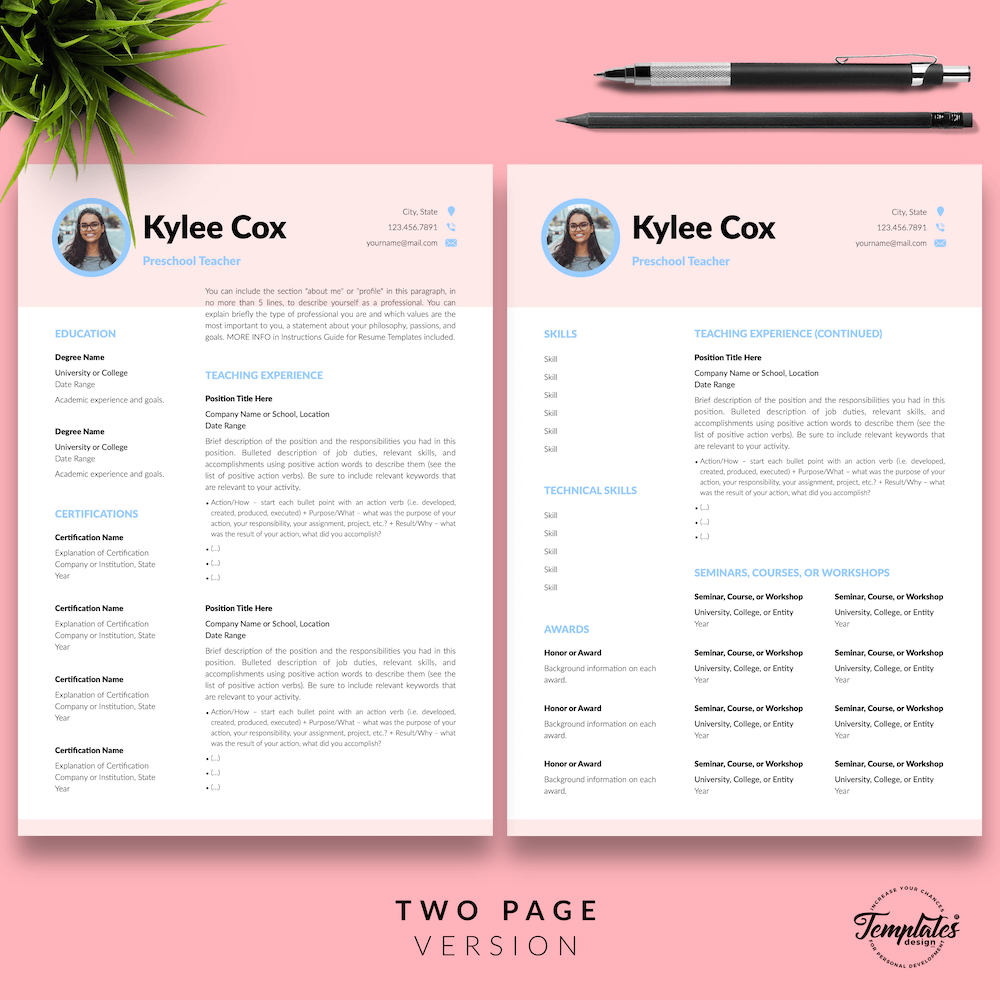 Beautiful Resume for Teacher - Kylie Cox 03 - Two Page Version - New version