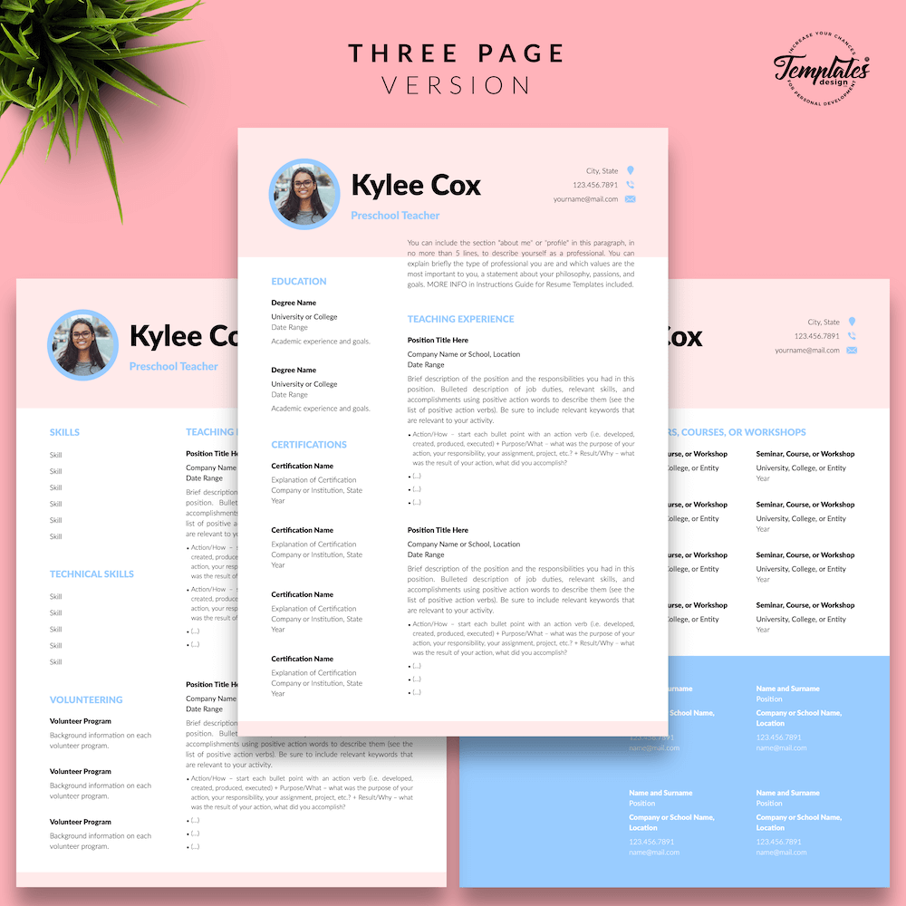 Beautiful Resume for Teacher - Kylie Cox 04 - Three Page Version - New version