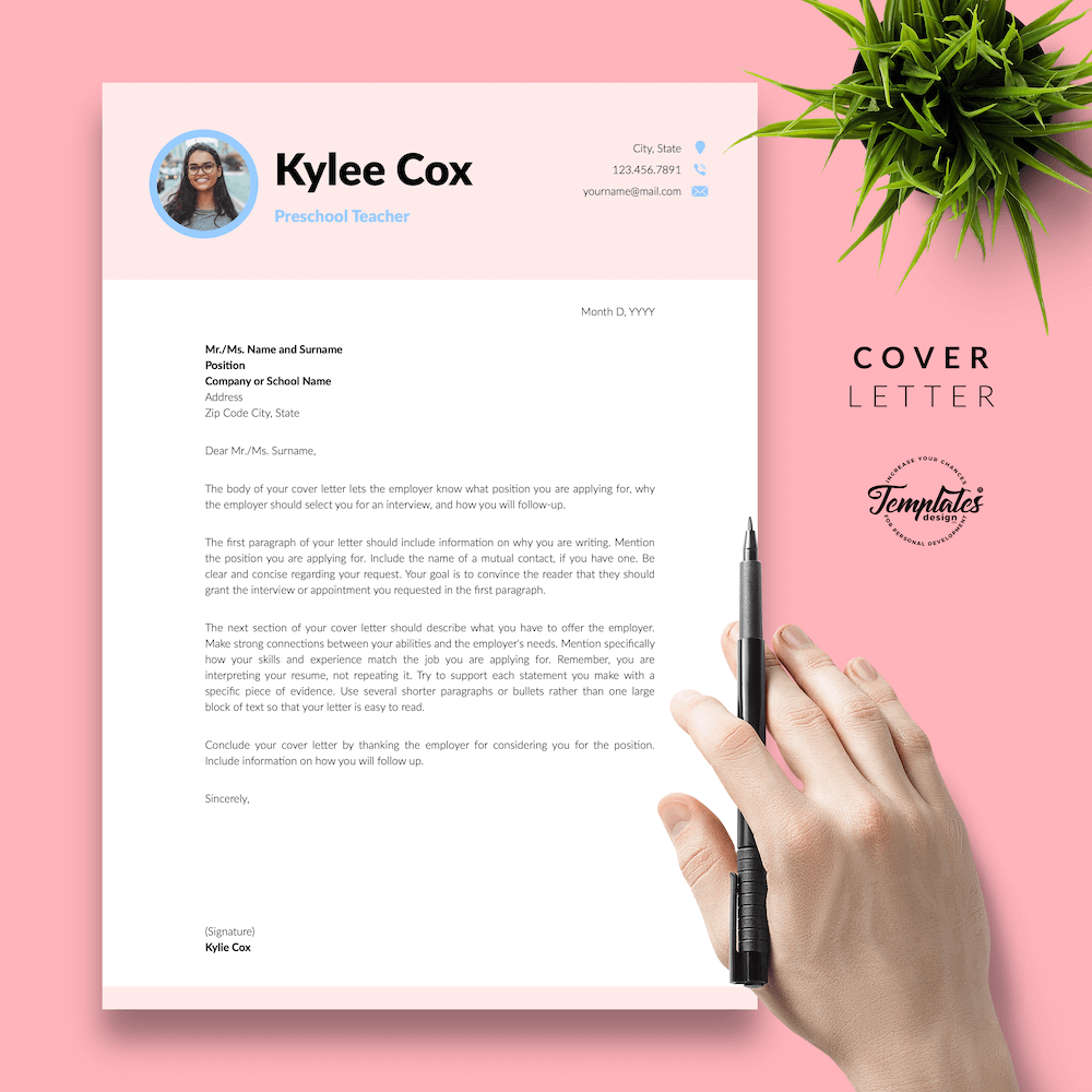 Beautiful Resume for Teacher - Kylie Cox 05 - Cover Letter - New version