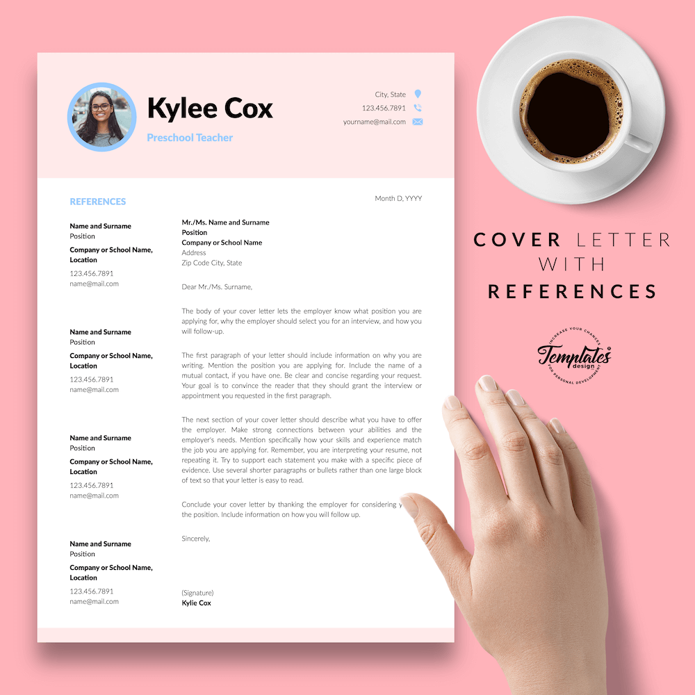 Beautiful Resume for Teacher - Kylie Cox 07 - Cover Letter with References - New version