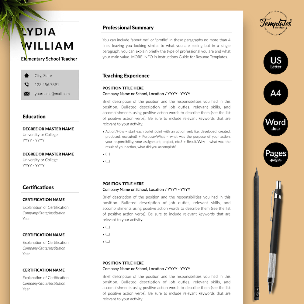Professional Teacher Resume - Lydia William 01 - Presentation - New version