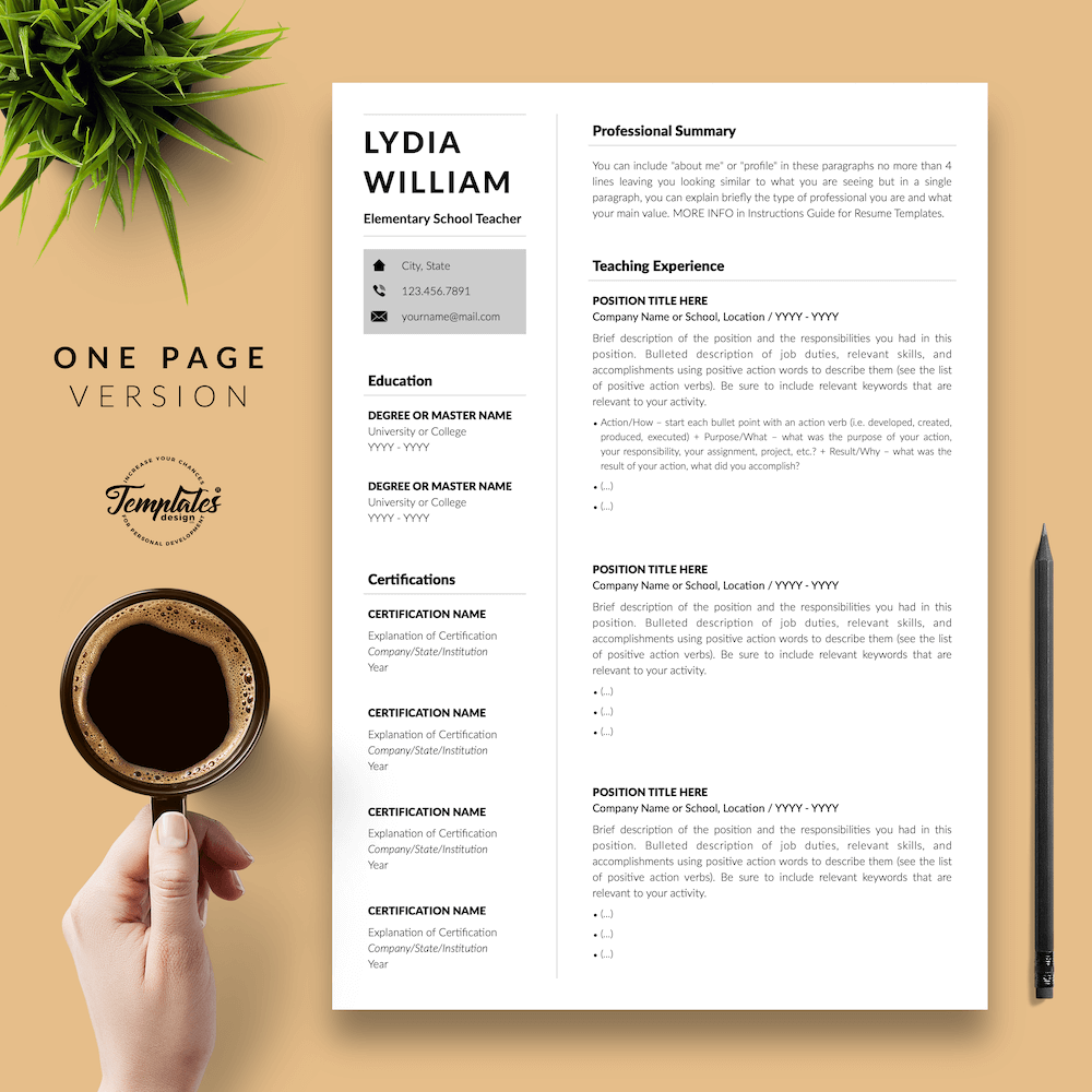 Professional Teacher Resume - Lydia William 02 - One Page Version - New version