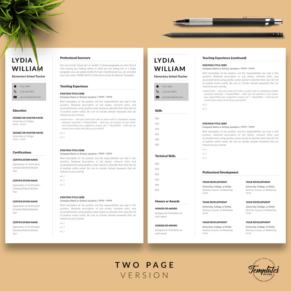 Professional Teacher Resume - Lydia William 03 - Two Page Version - New version
