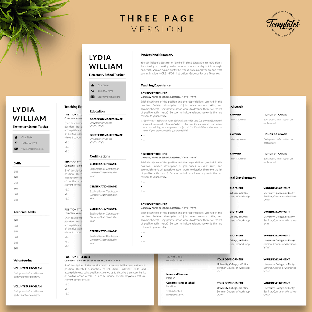Professional Teacher Resume - Lydia William 04 - Three Page Version - New version