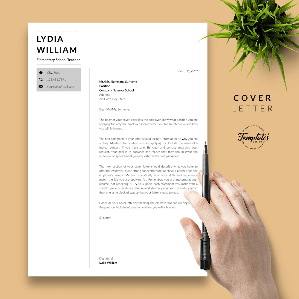 Professional Teacher Resume - Lydia William 05 - Cover Letter - New version