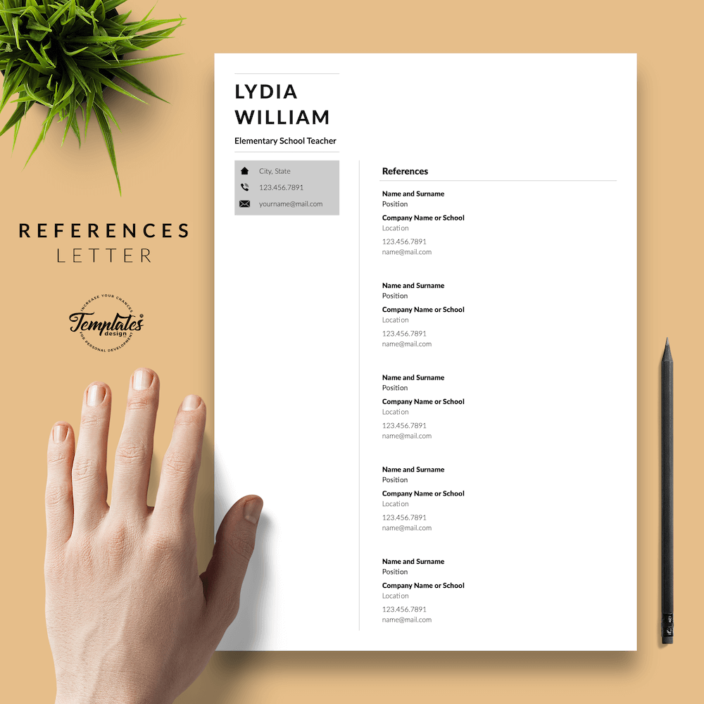 Professional Teacher Resume - Lydia William 06 - References - New version