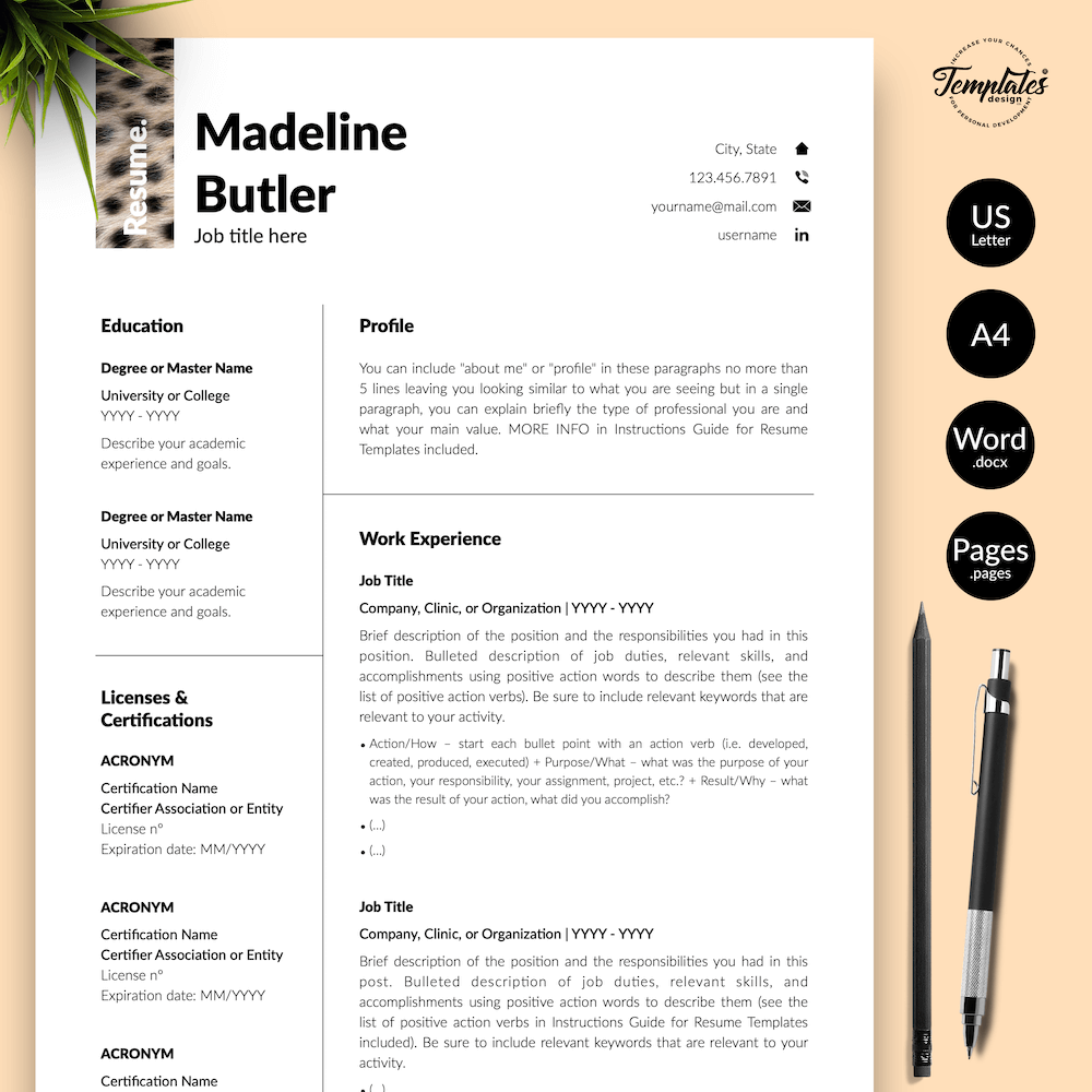 Veterinary Resume Template - Madeline Butler 01 - Presentation - New version