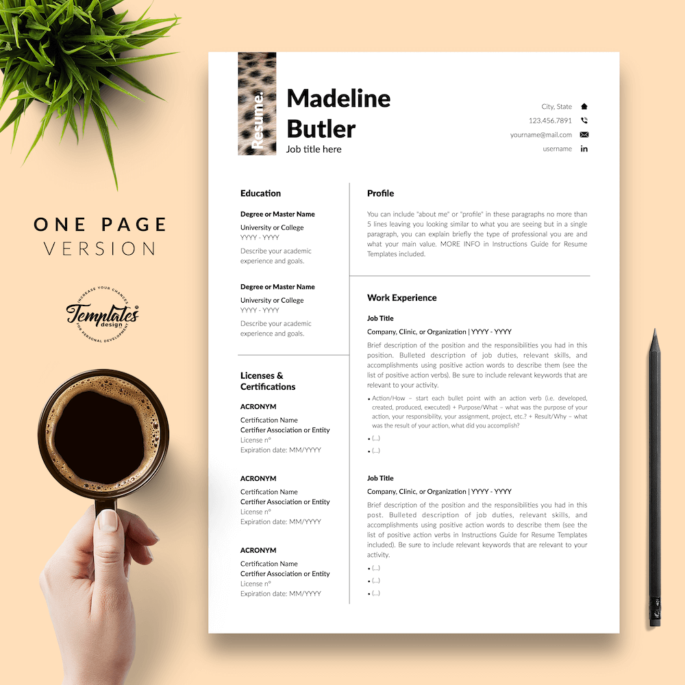 Veterinary Resume Template - Madeline Butler 02 - One Page Version - New version