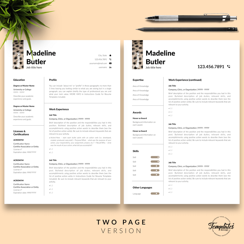 Veterinary Resume Template - Madeline Butler 03 - Two Page Version - New version