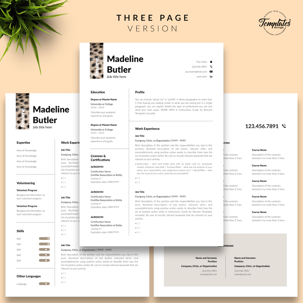 Veterinary Resume Template - Madeline Butler 04 - Three Page Version - New version