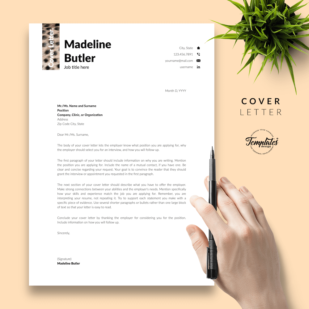 Veterinary Resume Template - Madeline Butler 05 - Cover Letter - New version