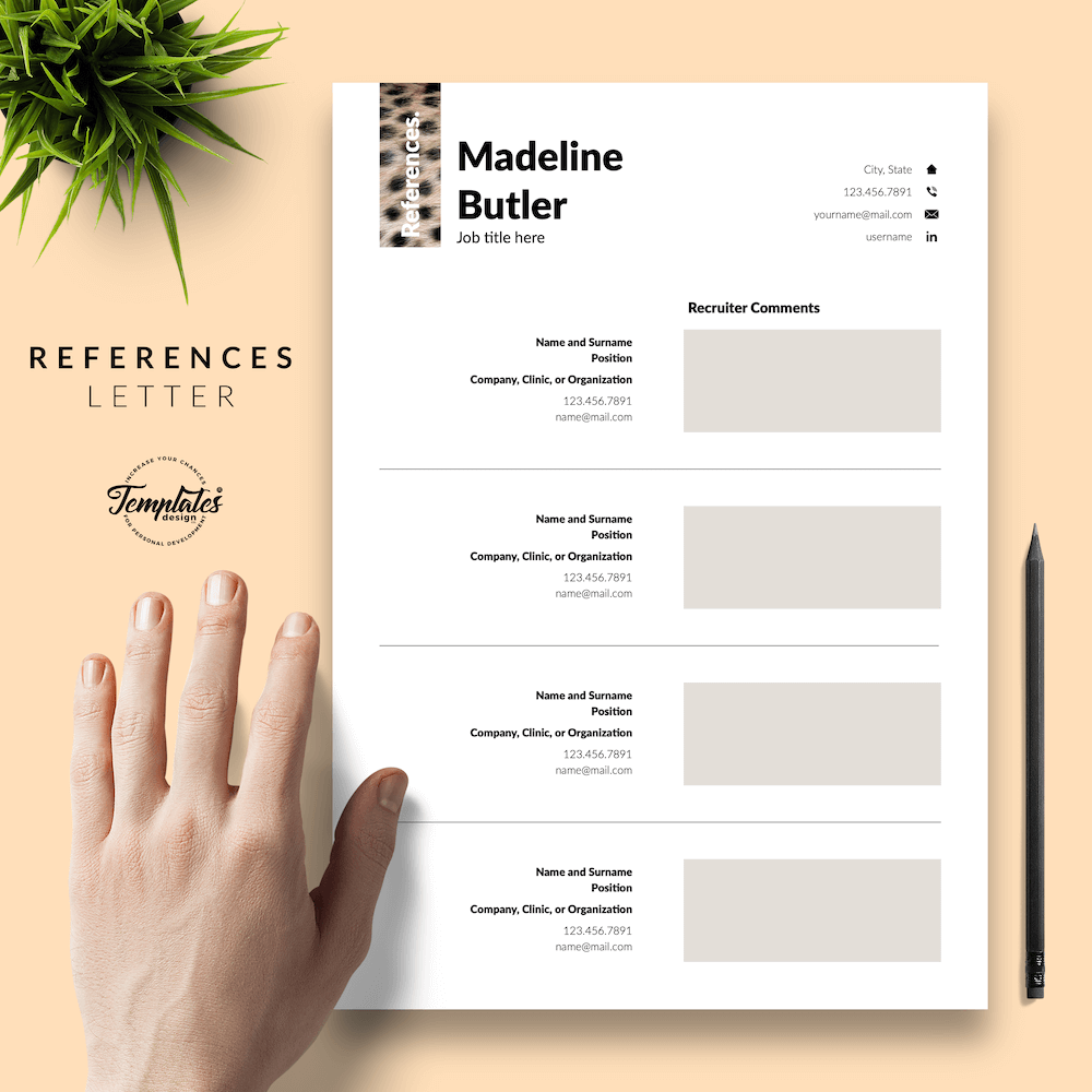 Veterinary Resume Template- Madeline Butler 06 - References - New version