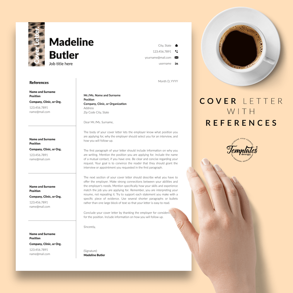 Veterinary Resume Template - Madeline Butler 07 - Cover Letter with References - New version