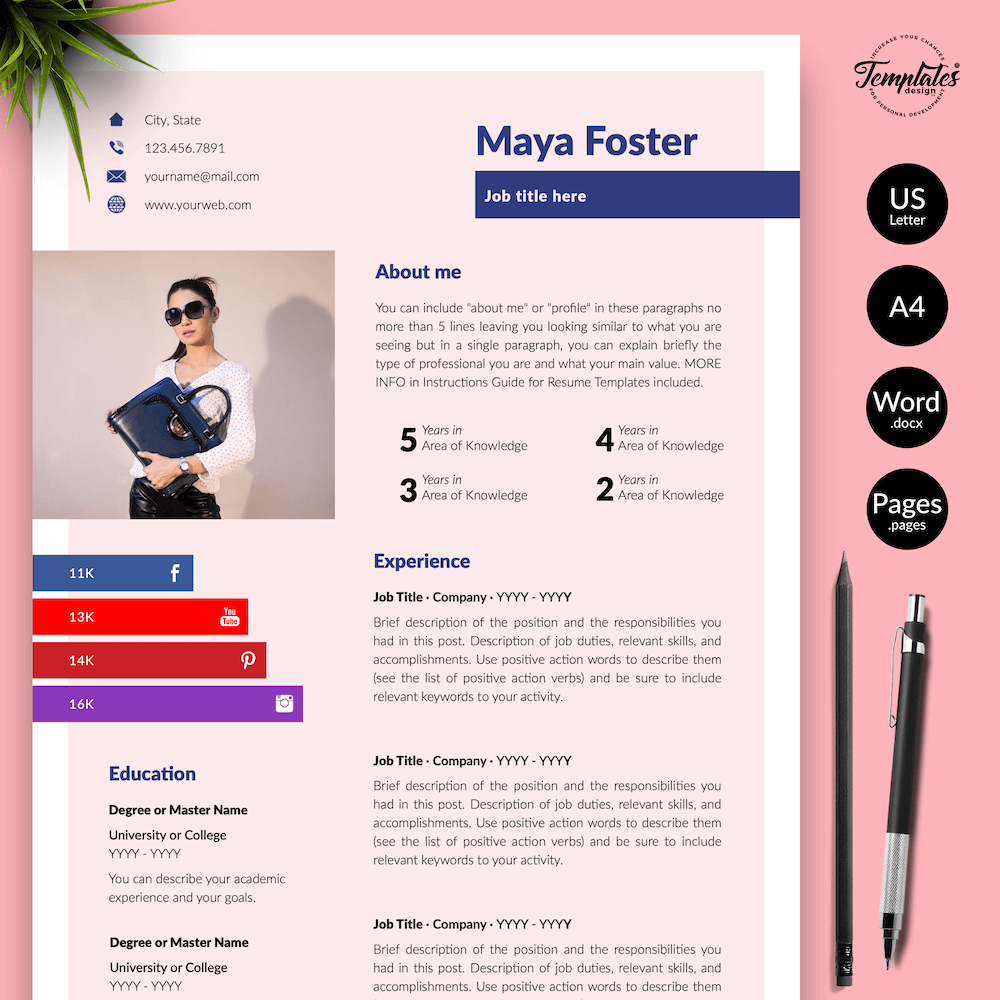 Fashion Jobs Resume Template - Maya Foster 01 - Presentation - New version