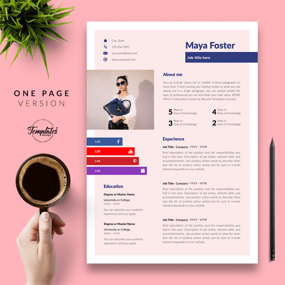 Fashion Jobs Resume Template - Maya Foster 02 - One Page Version - New version