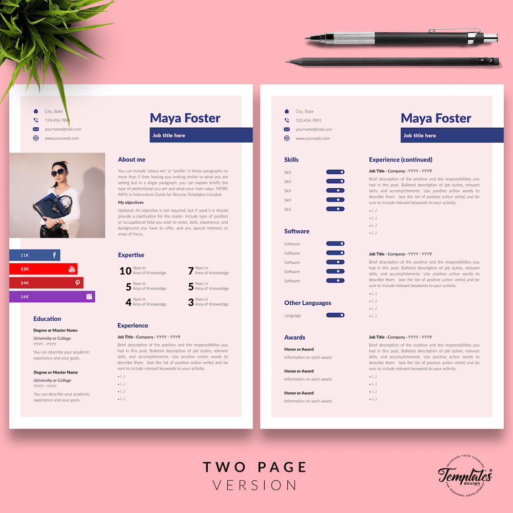 Fashion Jobs Resume Template - Maya Foster 03 - Two Page Version - New version