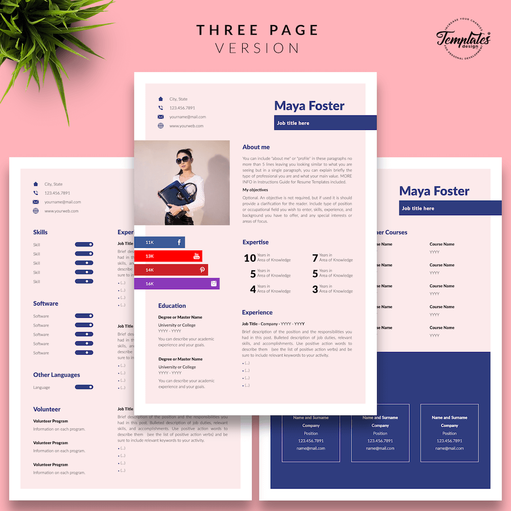 Fashion Jobs Resume Template - Maya Foster 04 - Three Page Version - New version