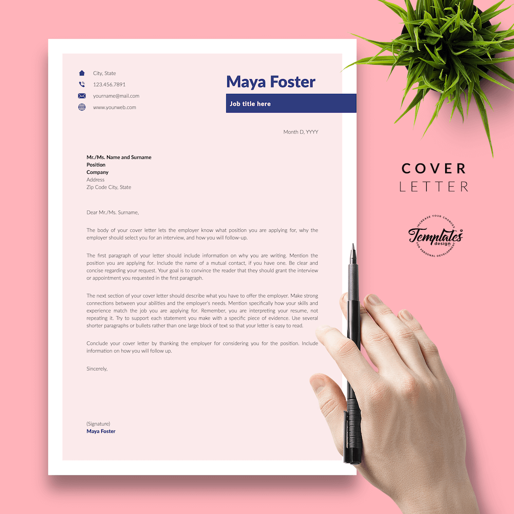 Fashion Jobs Resume Template - Maya Foster 05 - Cover Letter - New version