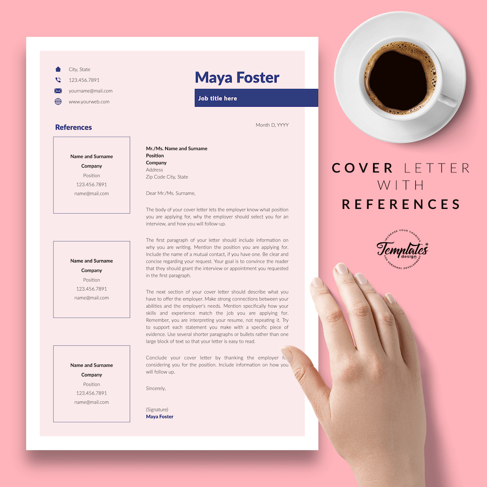 Fashion Jobs Resume Template - Maya Foster 07 - Cover Letter with References - New version