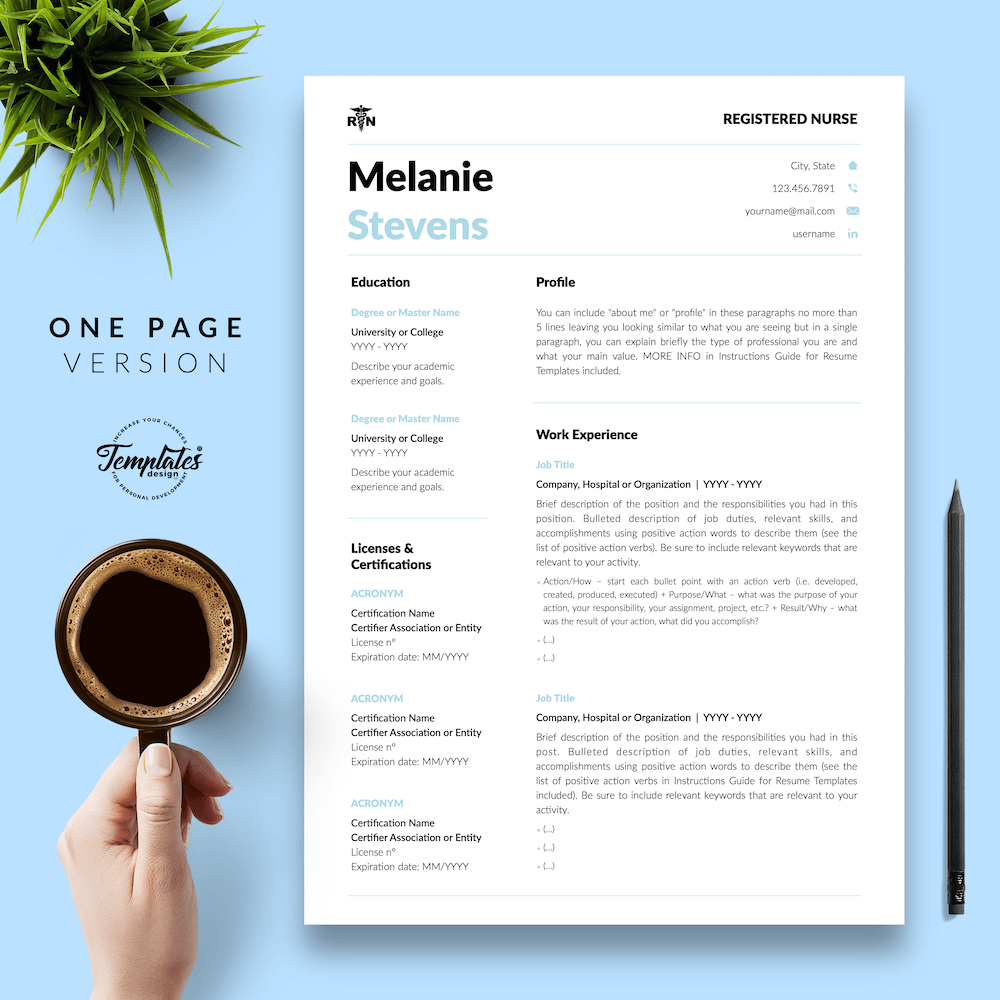 Nurse Resume Format - Melanie Stevens 02 - One Page Version - New version