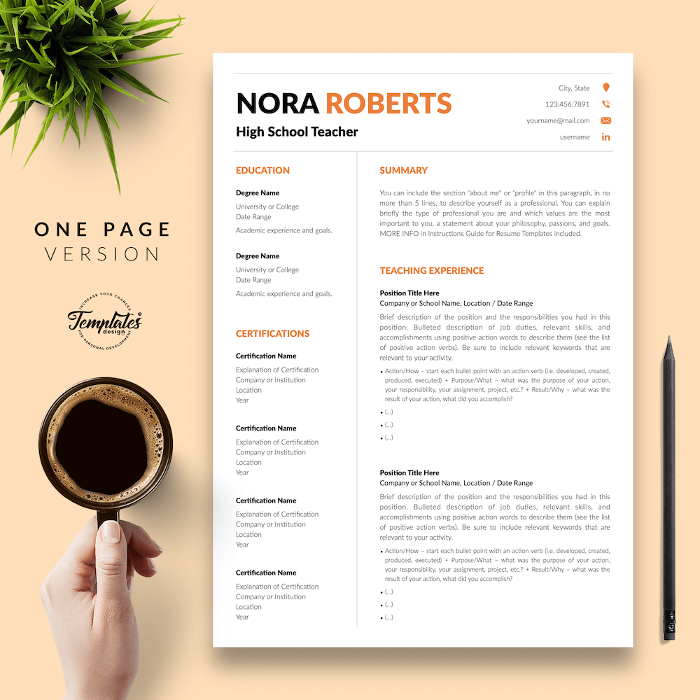 Modern Resume for Teaching - Nora Roberts 02 - One Page Version - New version