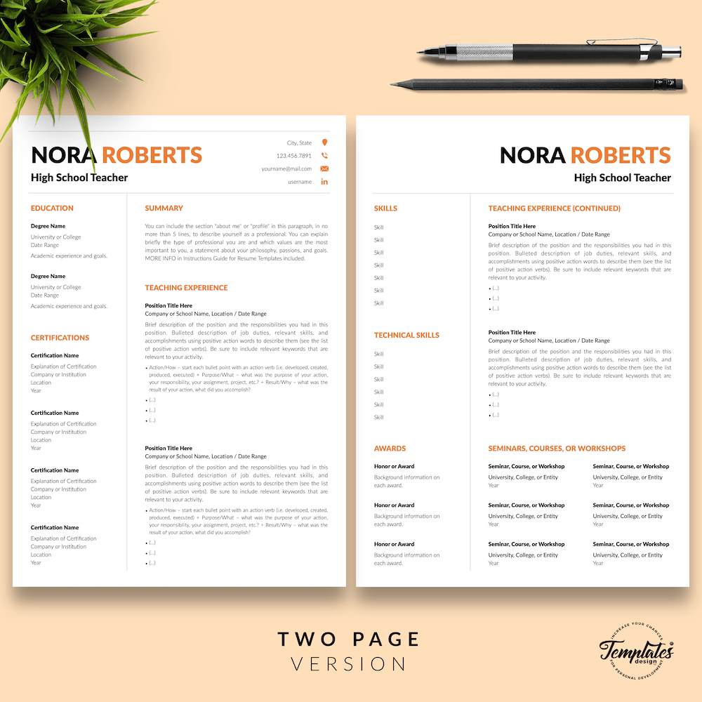 Modern Resume for Teaching - Nora Roberts 03 - Two Page Version - New version