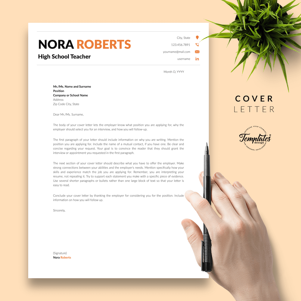 Modern Resume for Teaching - Nora Roberts 05 - Cover Letter - New version
