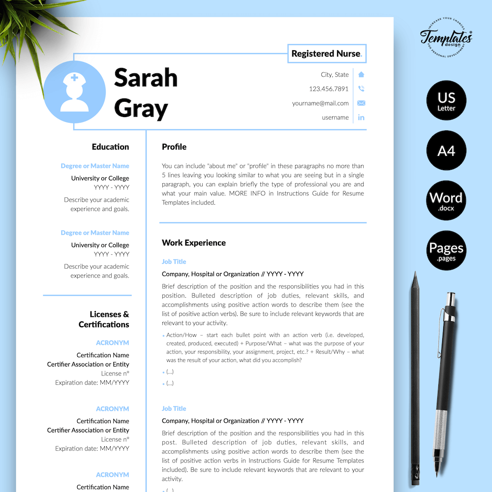 Nurse Resume Template - Sarah Gray 01 - Presentation - New version