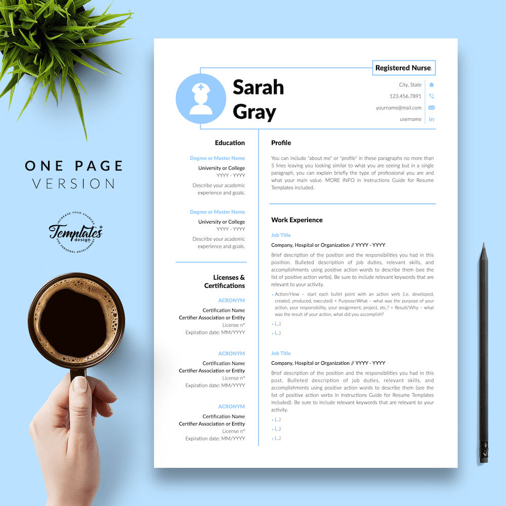 Nurse Resume Template - Sarah Gray 02 - One Page Version - New version