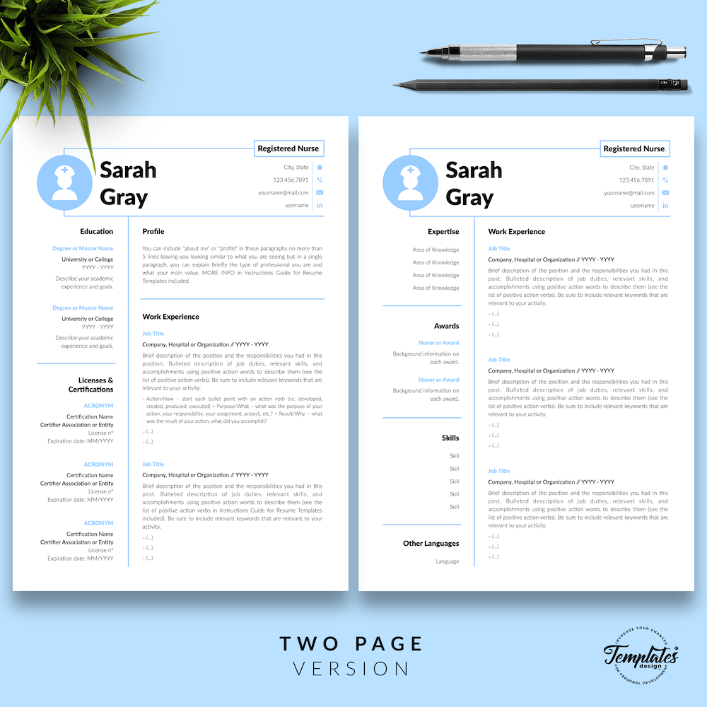 Nurse Resume Template - Sarah Gray 03 - Two Page Version - New version