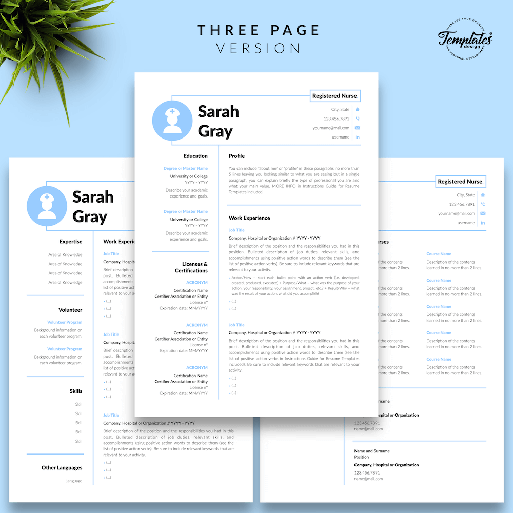 Nurse Resume Template - Sarah Gray 04 - Three Page Version - New version