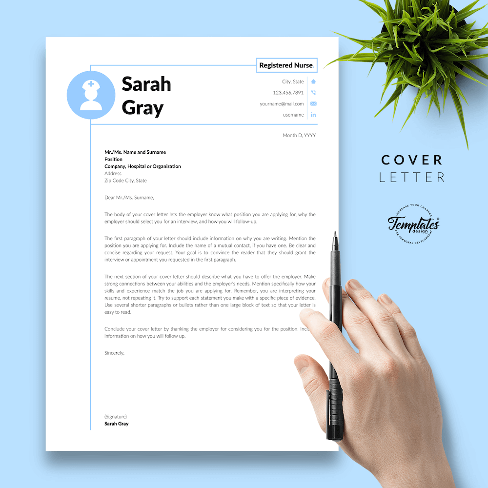 Nurse Resume Template - Sarah Gray 05 - Cover Letter - New version