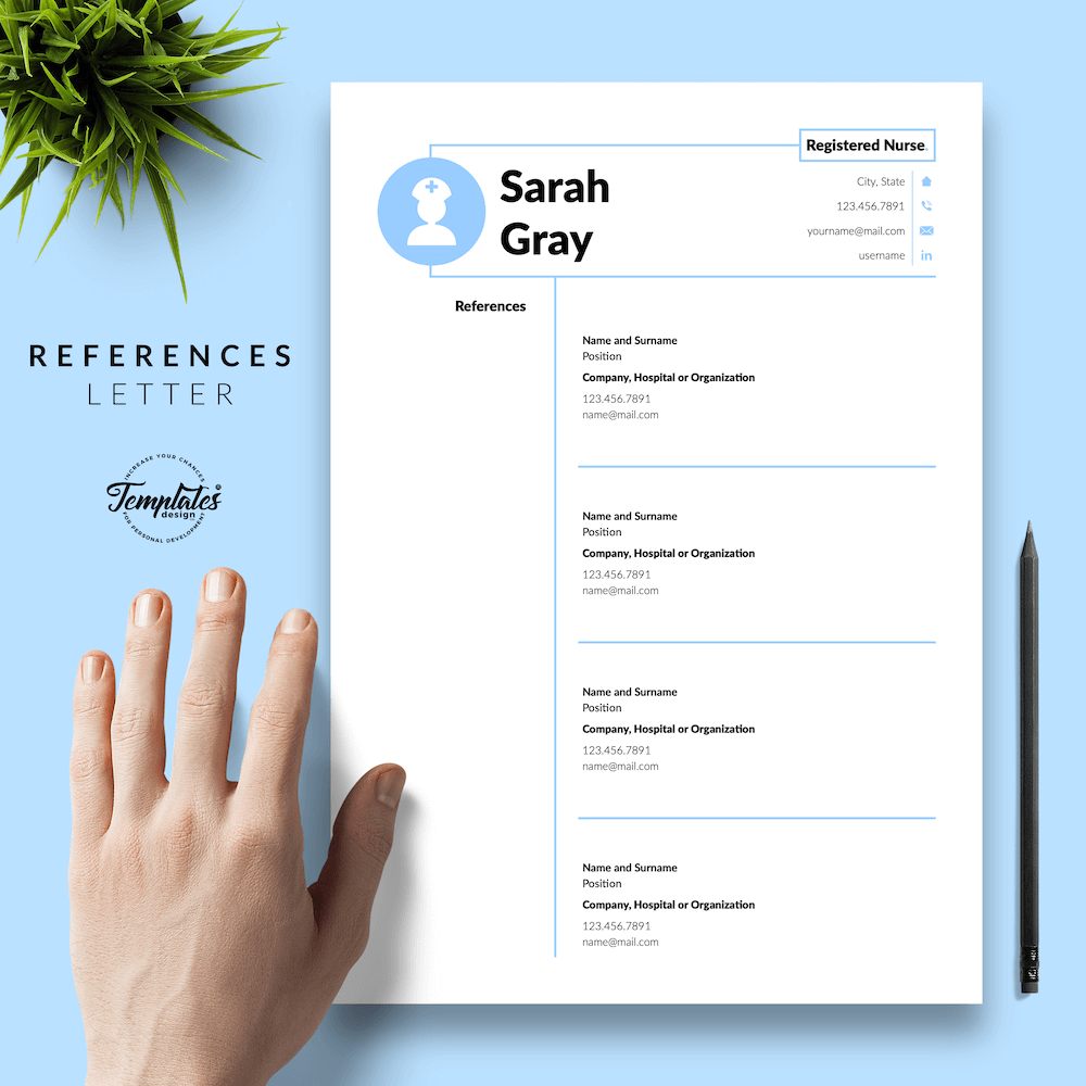 Nurse Resume Template - Sarah Gray 06 - References - New version