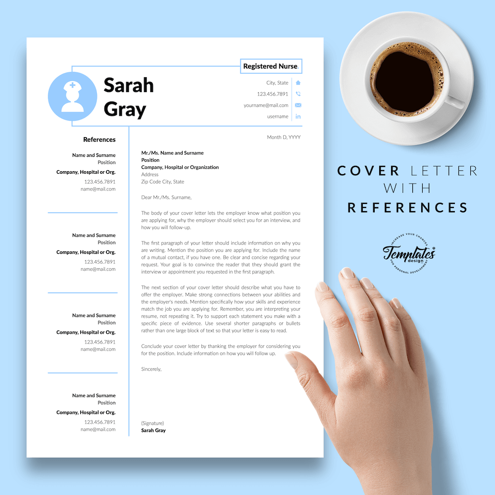 Nurse Resume Template - Sarah Gray 07 - Cover Letter with References - New version